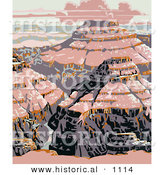 Historical Vector Illustration of Pink Lighting upon the Grand Canyon National Park, Arizona by Al