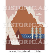 Historical Vector Illustration of Rock Art and Tipis on a River Bank near Mountains in Montana by Al