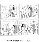 Historical Vector Illustration of Scenes Featuring a Cartoon Woman Flirting with Men Waiting in a Line - Black and White Outlined Version by Al