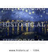 Historical Vector Illustration of the Starry Night over the Rhone in Arles - Vincent Van Gogh Painting by Al