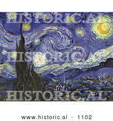 Historical Vector Illustration of the Starry Night - Vincent Van Gogh Painting by Al