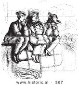 Historical Vector Illustration of Three Men Smoking on Luggage - Black and White Version by Al