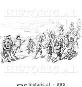 Historical Vector Illustration of Travelers Carrying Luggage - Black and White Version by Al