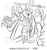 Historical Vector Illustration of Unhappy Cartoon People Riding on a Crowded Bus - Black and White Outlined Version by Al