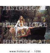 Historical Vector Illustration of Woman in a Boat on a Pond, the Lady of Shalott - John William Waterhouse by Al