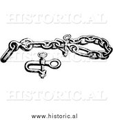Illustration of a Bear Chain Clevis Beside a Bolt for a Trap - Black and White by Al