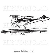 Illustration of a Flying Airplane Getting Ready to Land - Black and White by Al