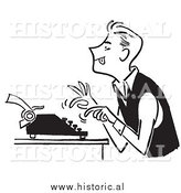 Illustration of a Hardworking Young Man Using a Typewriter - Black and White by Al