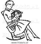 Illustration of a Mom Sitting with Her Baby in a Rocking Chair - Retro Black and White Version by Al
