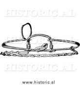 Illustration of a Steel Bear Trap - Black and White by Al
