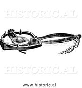Illustration of a Steel Trap for Otters - Black and White by Al
