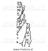 Illustration of a Stern Man Holding up a Finger (1/2 Cut Off) - Black and White by Al
