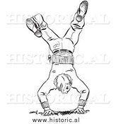 Illustration of a Teen Boy Hand Standing - Black and White by Al