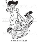 Illustration of a Teen Boy Playing Cowboys with His Baby Brother - Black and White by Al
