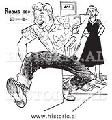 Illustration of a Teenage Boy Rudely Knocking down School Girls Books While Running - Black and White by Al