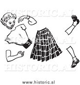 Illustration of a Teenage Girl Manikin Split Apart - Black and White by Al