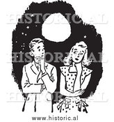 Illustration of a Young Couple Having Awkward Moment Under a a Beautiful Full Moon - Black and White by Al