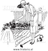 Illustration of a Young Lady Watering a Garden - Black and White by Al