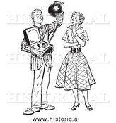 Illustration of a Young Man Offering His Girlfriend Commitment Attached to a Heavy Weight - Black and White Retro Concept by Al
