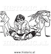 Illustration of an Angry Teen Girl Pouting While Sitting on the Floor Beside Her Parents by Al