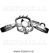 Illustration of an Old Steel Clamp Trap for Lions, Tigers, and Bears - Black and White by Al