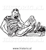 Illustration of Teenage Boy Talking on Old Telephone - Black and White by Al