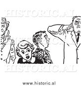 Illustration of Teenage Couple with Strict Fathers - Black and White by Al