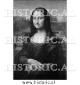 Portrait of Mona Lisa - Black and White Painting by Al