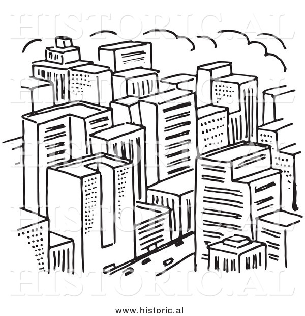 Clipart of a Big City with Lots of Skyscrapers - Black and White Line Drawing