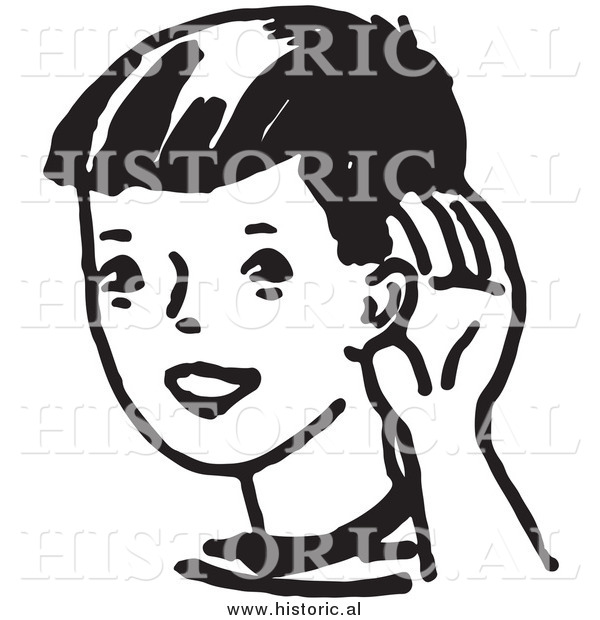 Clipart of a Boy Cupping His Ear While Trying to Hear Something Far Away - Black and White Drawing