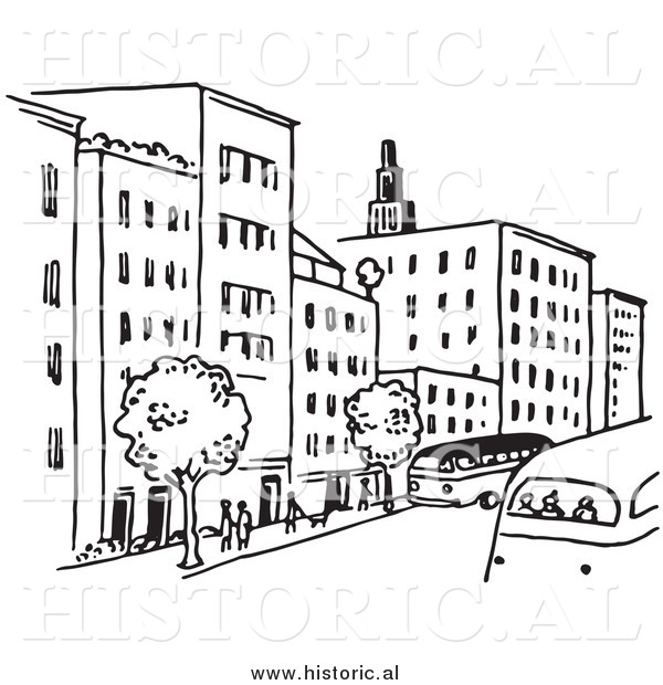 Clipart of a City Street with Buildings, Trees, People, and Buses - Black and White Line Art