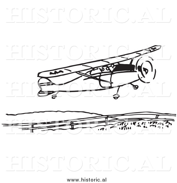 Clipart of a Compact Airplane Taking Flight - Black and White Drawing