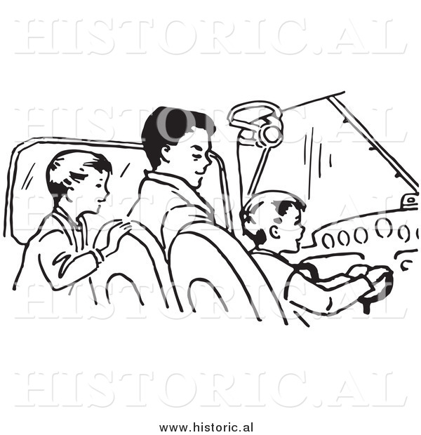 Clipart of a Dad Teaching His Sons How to Fly an Airplane - Black and White Retro Drawing