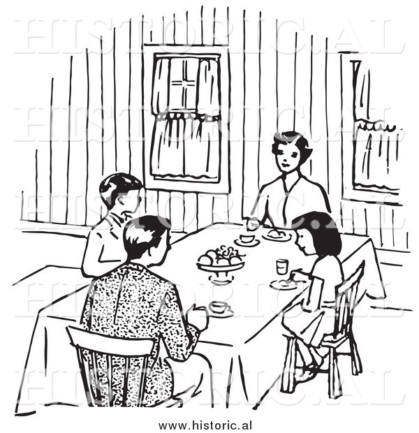 Clipart of a Family Eating at Dinner Table - Black and White Retro Drawing