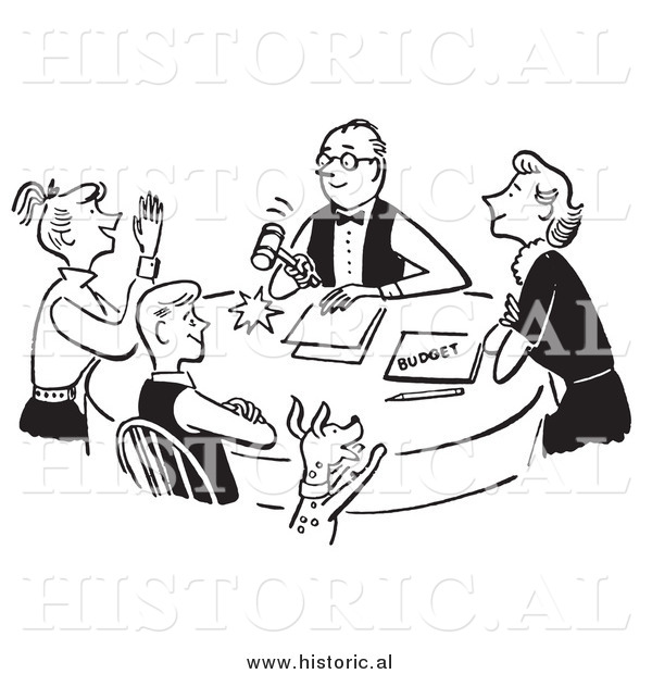 Clipart of a Happy Family Discussing Budget - Black and White Drawing
