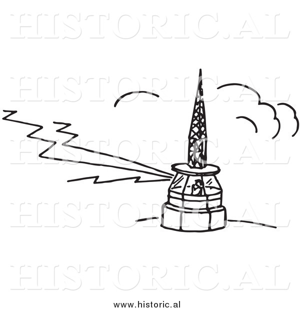 Clipart of a Person Working in an Airport Tower - Black and White Line Drawing