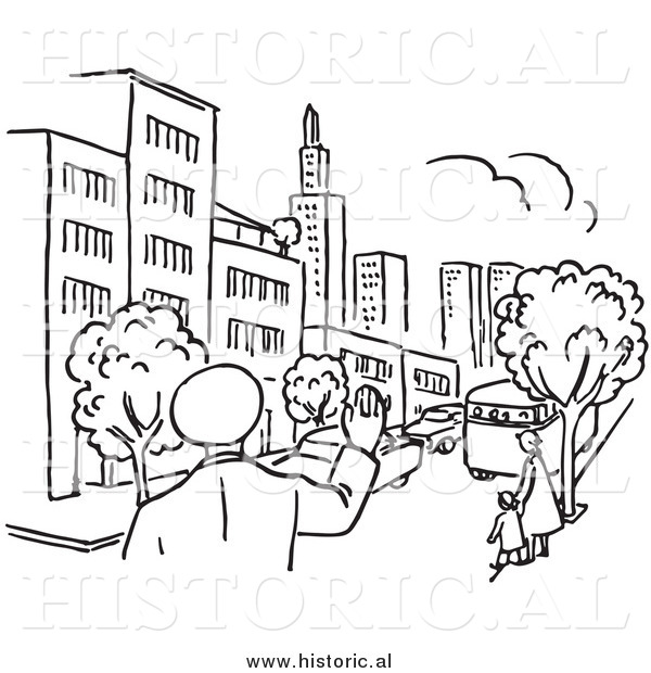 Clipart of a Police Man Waving at City with Cars and People - Black and White Line Art