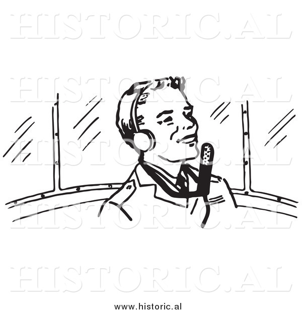 Clipart of a Smiling Pilot Wearing Headphones - Black and White Retro Drawing
