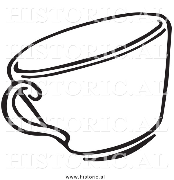 Clipart of a Tea Cup - Black and White Line Drawing
