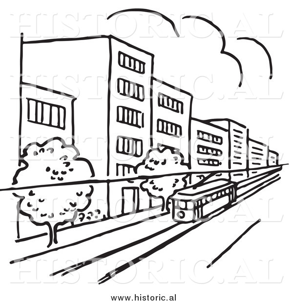 Clipart of a Tram Traveling Through a City with Buildings and Trees - Black and White Line Art