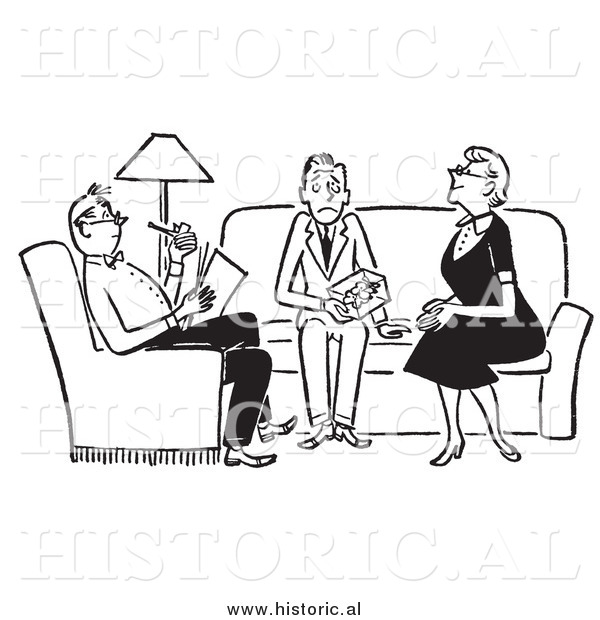 Clipart of Adults Sitting with Nervous Teenager in the Livingroom - Black and White Drawing
