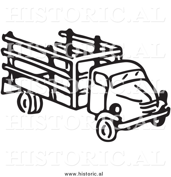 Clipart of an Old Farm Truck - Black and White Drawing