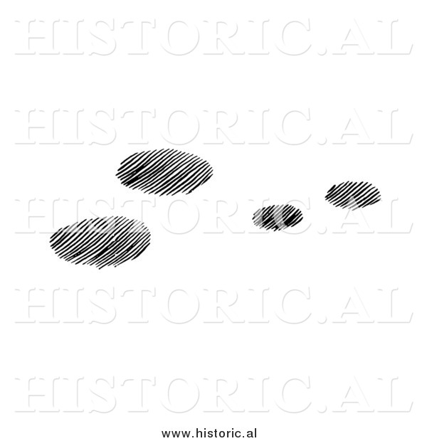 Clipart of Four Snowshoe Rabbit Tracks in Snow - Black and White Drawing