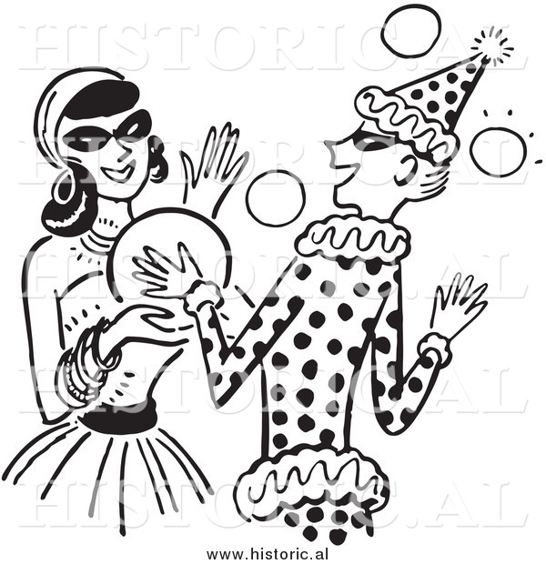 Clipart of Happy Girls Dancing at a Halloween Costume Party - Black and White Drawing