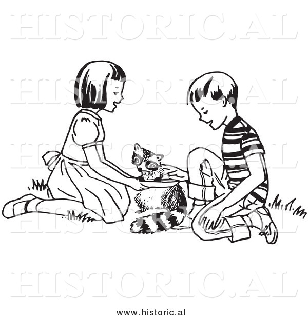 Clipart of Happy Kids Feeding a Hungry Raccoon - Black and White Drawing