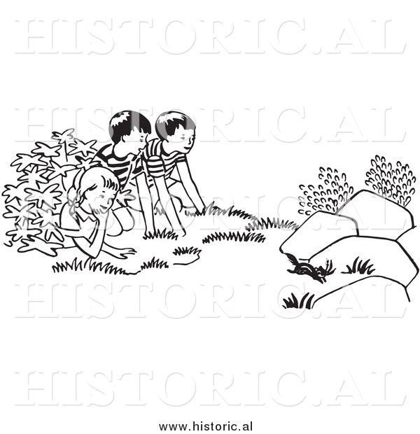 Clipart of Kids Watching a Chipmunk Run Outside - Black and White Outline