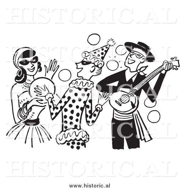 Clipart of People Having Fun at a Halloween Costume Party - Black and White Drawing