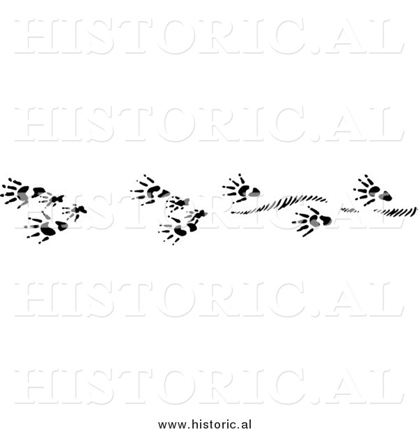 Clipart OfMuskrat Tracks - Black and White Drawing