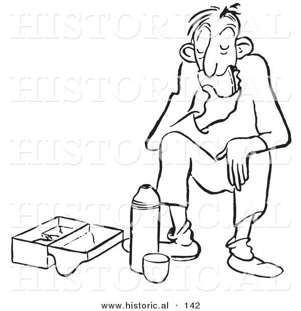Historical Cartoon Illustration of a Tired Man Eating Lunch - Outlined Version