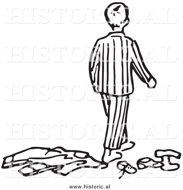 Historical Clipart of a Messy Boy Wearing Pajamas - Outline